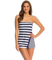 Anne Cole Rugby Stripe Asymmetrical Bandeau Swimdress