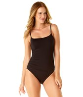Anne Cole Color Blast Solid Shirred Lingerie One Piece Swimsuit