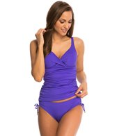 Anne Cole Color Blast Solid Twist Front OTS Underwire Tankini Top (D Cup)