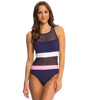 Anne Cole Mesh High Neck Keyhole One Piece Swimsuit