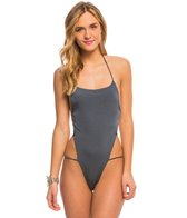 Indah Need Want Love Solid Strappy Backless One Piece Swimsuit