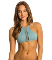 Indah Need Want Love Solid High Neck Macrame Halter Bikini Top