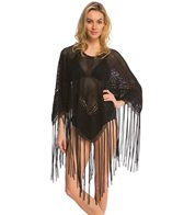 Indah Need Want Love Fringe Crochet Cover Up Poncho