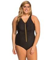 Miraclesuit Plus Size Suit Yourself Blitz Zip Up One Piece Swimsuit