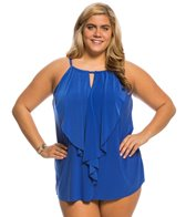 Miraclesuit Plus Size Solid Ruffle Peephole Tankini Top