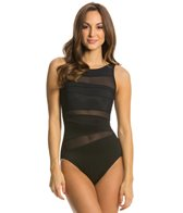 Miraclesuit Network Piped High Neck One Piece Swimsuit