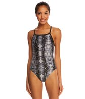 Speedo Digital Water Drill Back One Piece Swimsuit