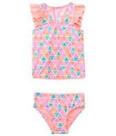 Hula Star Girls' Texture Pyramids Tankini Two Piece Set (2yrs-6yrs)