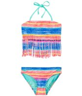 Gossip Girls' Neon Lights Fringe Tankini Two Piece Set (7yrs-16yrs)