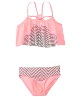 Gossip Girls' Chevron Sensation Flounce Tankini Two Piece Set (7yrs-16yrs)
