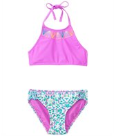 Gossip Girls' Aquatic Aztec High Neck Two Piece Set (7yrs-16yrs)