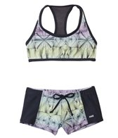 Hurley Girls' Fine Lines Crop Top Boyshort Two Piece Set (7yrs-14yrs)