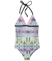 Hurley Girls' Fine Lines Ruffle Halter One Piece Swimsuit (4yrs-6X)