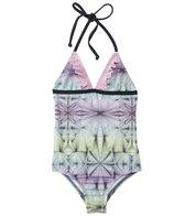 Hurley Girls' Fine Lines Ruffle Halter One Piece Swimsuit (4yrs-6X)