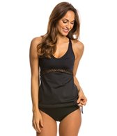 Jag Net Solid Crisscross Blouson Tankini Top