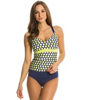Jag Shadow Dot Underwire Convertible Back Tankini Top (D/DD Cup)