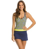 Jag Shadow Dot Crisscross Back Skirted One Piece Swimsuit