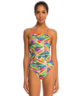 Speedo Stripes Printed Propel Back One Piece Swimsuit