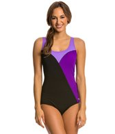 Speedo Color Block Comfort Strap One Piece Swimsuit