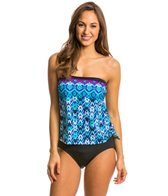 Maxine Diamond Kisses Bandeau Faux Tankini One Piece Swimsuit
