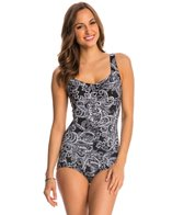 Maxine Paisley Lane Shirred Front Girl Leg One Piece Swimsuit