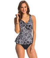 Maxine Paisley Lane Surplice Peplum One Piece Swimsuit