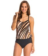 Maxine Feathered Beauty Scoop Faux Tankini One Piece Swimsuit