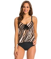 Maxine Feathered Beauty Tie Front Tankini Top