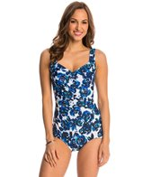 Maxine Santorini's Roses Shirred Front Girl Leg One Piece Swimsuit