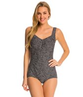 Maxine Ditzy Dot Shirred Front Girl Leg One Piece Swimsuit