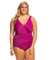 Maxine Plus Size Solid Tricot Surplice One Piece Swimsuit