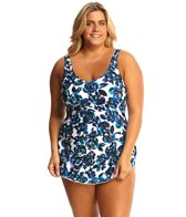 Maxine Plus Size Santorinis Roses Wide Strap Sarong One Piece Swimsuit