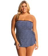 Maxine Plus Size Ditzy Dot Bandeau Sarong One Piece Swimsuit