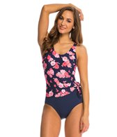 Gabar Sunlit Flower Drapped Tank One Piece Swimsuit