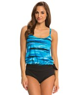 Gabar Treading Water Blouson Tankini w/ Solid Pant Two Piece Set