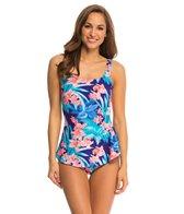 Gabar Tropical Blossom Square Neck Sarong One Piece Swimsuit