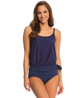 Gabar Tossed Dot Blouson Tankini w/ Solid Pant Two Piece Set
