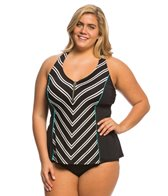 Beach House Plus Size Cape Cod Racer Back Zip Tankini Top