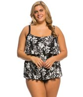 Beach House Plus Size Nantucket Island Ruffle Tankini Top