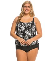 Beach House Plus Size Nantucket Side Tie Blouson Tankini Top