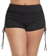 Beach House Plus Size Solid Adjustable Side Swim Short