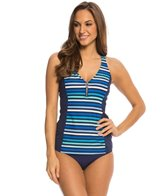 Beach House Rockland Stripe Racerback Zip Tankini Top