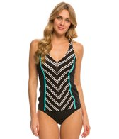 Beach House Cape Cod Racerback Zip Front Tankini Top