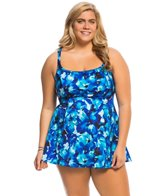 Longitude Plus Size Key Largo Princess Seam Swim Dress