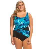 Longitude Plus Size High Tide Double Crossback Tank One Piece Swimsuit