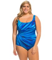 Longitude Plus Size Coral Shine U Back Tank One Piece Swimsuit