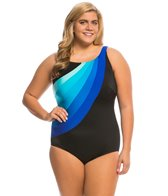 Longitude Plus Size Colorblock Highneck One Piece Swimsuit