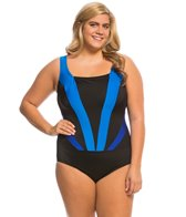 Longitude Plus Size Colorblock Faux Plunge Tank One Piece Swimsuit