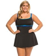 Longitude Plus Size Colorblock Double Bow Empire Swim Dress