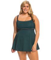 Longitude Plus Size Dot to Dot Empire Princess Swim Dress